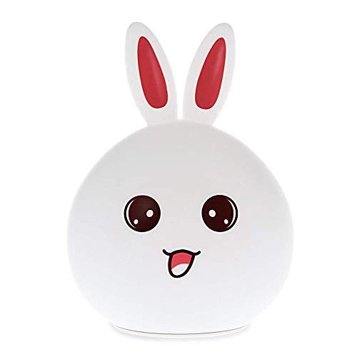 SDGDFXCHN - Luz Nocturna Infantil (Silicona, Sensor táctil, LED Regulable), diseño de Conejo