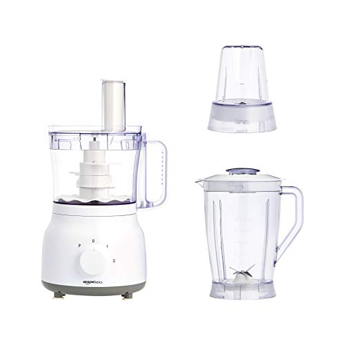 AmazonBasics - Robot multifunción y licuadora, 600 W, bol de mezcla de 2,4 l y jarra de licuadora de 1,25 l