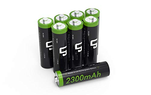 AA Ni-MH Rechargeable Battery Pack, LP 8-Pack Double-A Batteries with 2300mAh High Capacity for Clocks, Remotes, Toys, Cameras, Flashlights &More