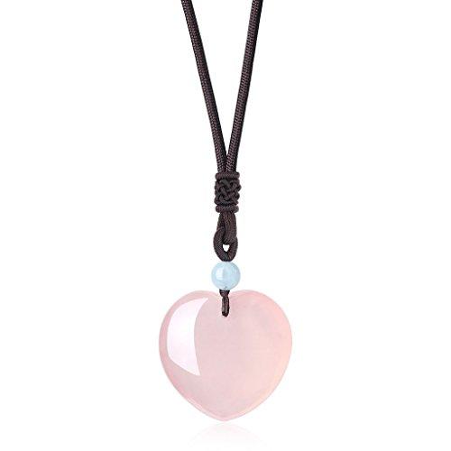 coai Verstellbare Nylonschnur mit Herzanhänger aus Rosenquarz Aquamarin Halskette für Damen