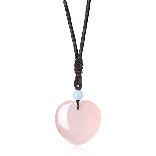 COAI Collar para Mujer Ajustable con Colgante Corazón de Cuarzo Rosa