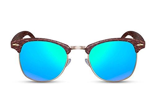 Cheapas Gafas de Sol Cafés Madera Verde-azul Espejadas UV 400 Estampado Natural Plástico Hombres y Mujeres