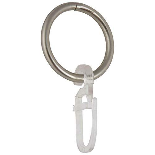 NRV-Outdoorbedarf Gardinenringe für Gardinenstangen Ø 20 mm, inklusive Faltenlegehaken, 100 Stück, Breite 3 mm, Metall, Chrom-Glanz