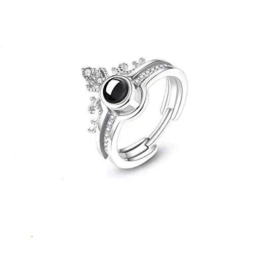 Aangepaste Foto Ring 100 Talen IK HOU VAN JERing Gepersonaliseerde Belofte Ring 925 Sterling Zilveren Projectiering