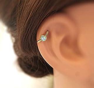 Cartilage Piercing Earring, Nose Septum Hoop, Helix Opal Earring, Beaded Piercing, Gift Idea