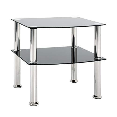 HAKU Möbel 15508 Beistelltisch, Sicherheitsglas, Edelstahl-schwarz, 45 x 45 x 44