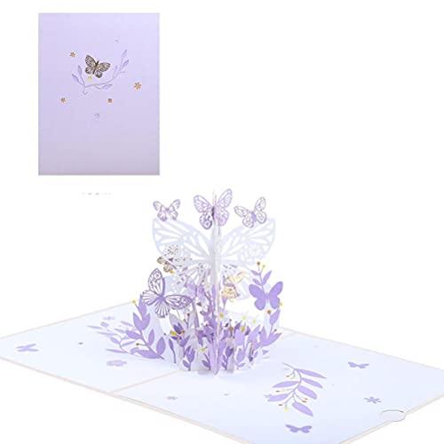teyiwei 3D Pop Up Gruß Karte Blüten Schmetterling Blume Grüße Jahrestag Karte mit Umschlag Unterschrift Papier Wonder Geburtstag Karte Maß Romantische Grußkarten Geschenk für Hochzeit (Lila)