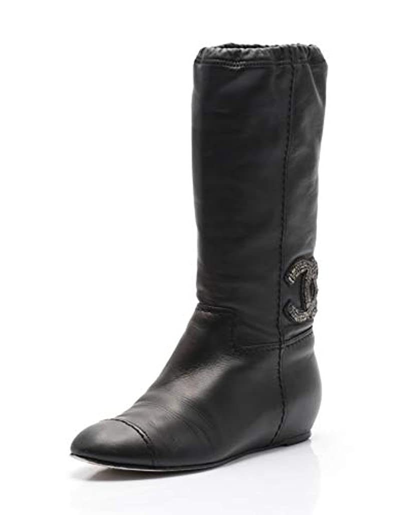 大聖堂一般的に言えば再開[シャネル] ココマーク ブーツ レザー 黒 10A G27047 中古