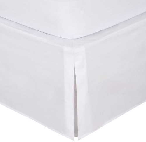 "Magic Skirt Tailored Bedskirt, Never Lift Your Mattress, Classic 14"" drop length, Pleated Styling, Queen, White"