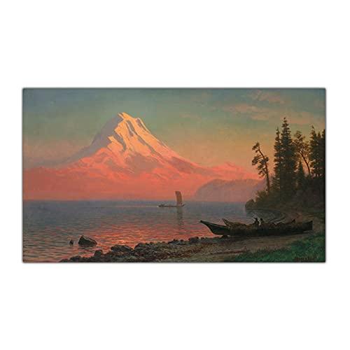 CCZWVH Toile Art Peinture Albert Bierstadt □ Mount Hood □ Artwork Poster Picture Décor Mural Maison Salon Décoration 20x36inch Pas De Cadre