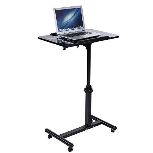 Cocoarm Mesa de Ordenador Portatil con Ruedas, Escritorio para Laptop con Enfriador Ventiladores Altura Ajustable 64-88cm (Negro)