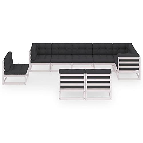 Susany Muebles de jardín 10 Piezas con Cojines Madera de Pino Maciza 3# Conjuntos Sofa Exterior Patio Sofás Palets