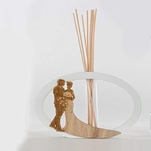 Ingrosso e Risparmio Cuorematto - Ambientador ovalado de madera con silueta de novios, detalles solidarios para boda, aniversario, con caja de regalo incluida