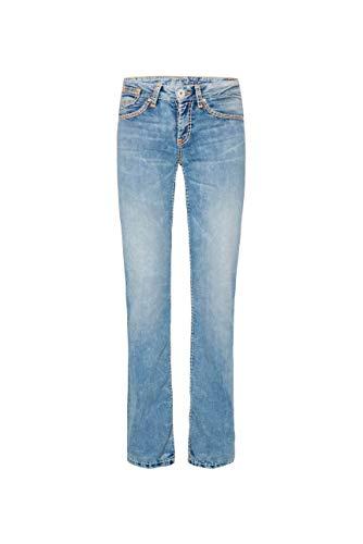 SOCCX Damen Light Random Jeans CO:LE mit Neon-Details, Comfort Fit