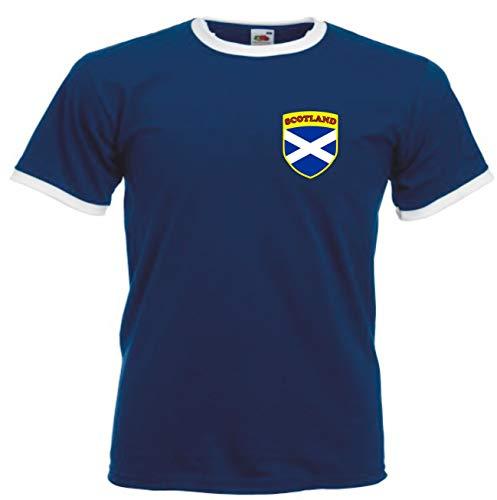 Escocia Escocés Rugby / Fútbol Bandera Cabezas camiseta - Todas Las Tallas - Azul marino/Blanco, Grande