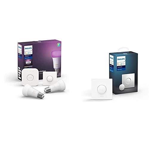 Philips Hue Kit de Démarrage Ampoules LED Connectées White & Color Ambiance E27 Pack de 2 + Dim Switch Télécommande nomade variateur de lumière