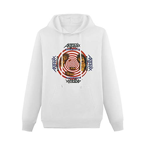 Teenager Adolescent Hoodie Anthrax State of Euphoria Band Album Cover Hard Rock A Cool Pullover White XXL