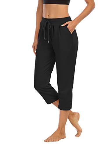 THANTH Womens Capri Yoga Pants Loose Comfy Lounge Pajamas Workout Athletic Capris Jersey Joggers Pants with Pockets Black XL