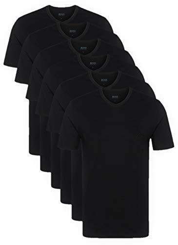 Hugo Boss Herren T-Shirts Business Shirts V-Neck 50325389 6er Pack, Farbe:Schwarz;Größe:XL;Artikel:-001 Black