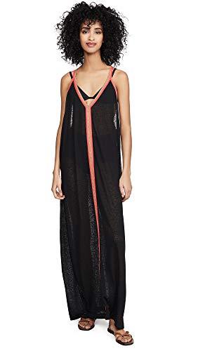 Pitusa Women's Sun Maxi Dress, Black w/Fuchsia, One Size