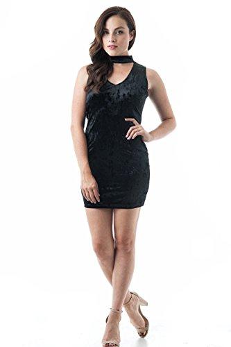 Khanomak Choker-mini-jurk, V-hals, mouwloos, nauwsluitend, panné-fluweel, met cut-outs, voor feestjes en clubfeesten.
