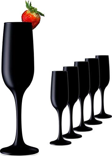 PLATINUX Schwarze stabile Sektgläser aus Glas Champagnergläser Set 6 Teilig max. 210ml Sektflöten Sektkelche Sektglas