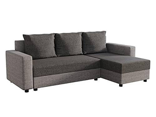 Ecksofa Vibo! Eckcouch Sofa mit Bettkasten und Schlaffunktion! L-Form Couch, Ottomane Universal, Farbauswahl, Schlafsofa vom Hersteller (Lux 05 + Lux 06)