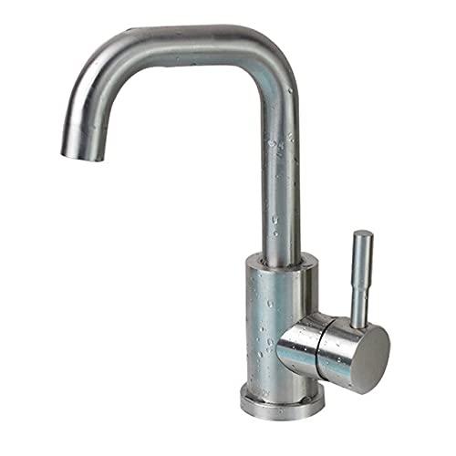 Grifo Grifo de lavabo de baño de níquel negro 304 Mezclador de lavado en frío caliente de acero inoxidable Grifo de grúa Grifos de fregadero de rotación 360 de una sola manija