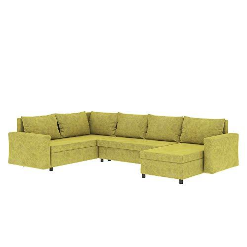 Selsey Foxglove - Wohnlandschaft/Schlafcouch in U-Form mit Ottomane und Bettkasten, 285 cm breit (Gelb)