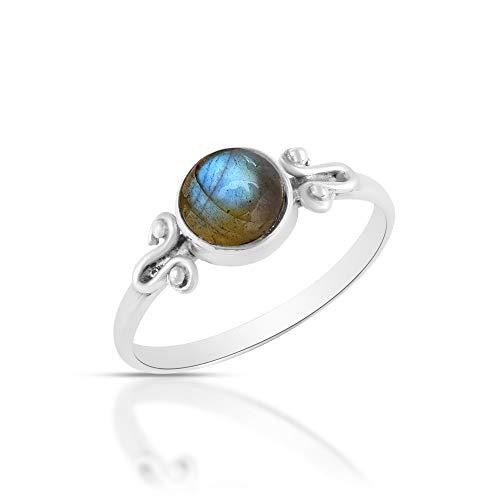 Sechi By Siblings Anillo de compromiso de plata de ley 925 con piedra preciosa de labradorita azul