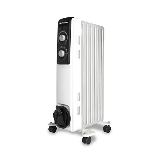 Orbegozo RF 1500 Radiador de aceite, 1500W de potencia, construcción modular de 7 elementos y diseño en color blanco, Negro