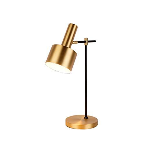 MLZWS Lámparas de Mesa de latón de Metal para Dormitorio Lámpara de Escritorio Ajustable de ángulo de Cobre con luz de Mesa Minimalista Retro