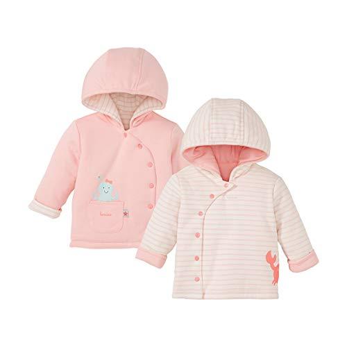 Bornino Veste réversible veste bébé vêtements bébé, rose/écru rayures