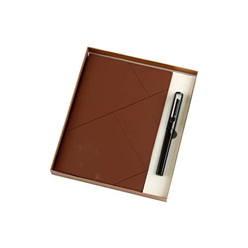 ZNZNN Bloc De Notas Portátil Juego De Diario De Moda (Bloc De Notas A5 + Bolígrafo De Firma + Bolsa De Regalo Caja De Regalo) Regalo Cuaderno Multifuncional (Color : Brown)