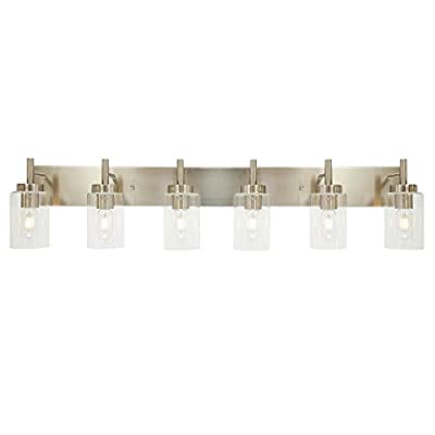 VINLUZ Bathroom Vanity Light Fixture Brushed Nickel with Clear Glass 6-Light Modern Wall Lighting Industrial Indoor Sconces Wall Mounted Lamp, Farmhouse Wall Light for Living Room Bedroom Kitchen