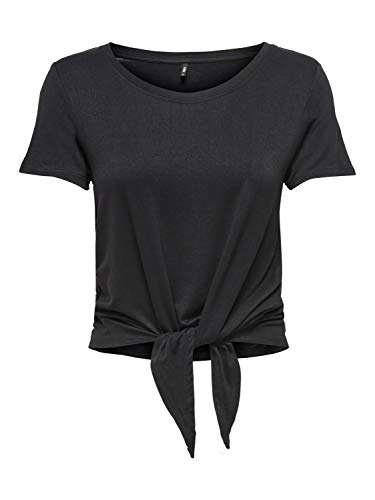 ONLY Womens ONLARLI S/S Knot TOP JRS NOOS T-Shirt, Black, L