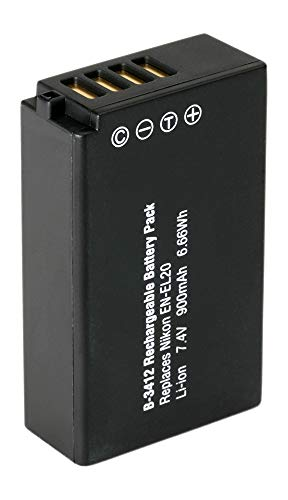 Amsahr Grade A de Celdas de batería (1200mAh, 7.4V) para Nikon EN-EL20Gris