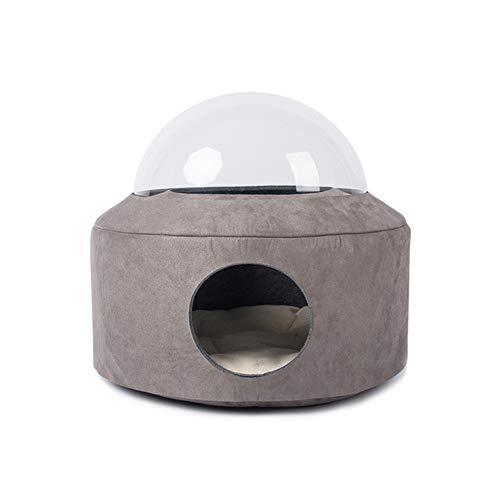 LDDPP Nido De Gato, Autocalentable 2 En 1 Cueva Plegable Cápsula Espacial Nido Cerrado Transparente Four Seasons Gatos Universales Y Perros Pequeños para Interiores O Exteriores (Dark Gray (Suede))