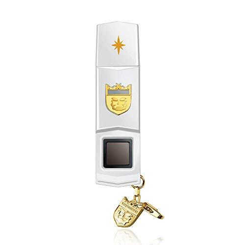 TOPMORE Phecda Fingerprint Recognition USB3.0 Flash Drive Fingerprint ID Security Flash Disk Biometric Fingerprint Reader Memory Stick (128GB, White & Gold)