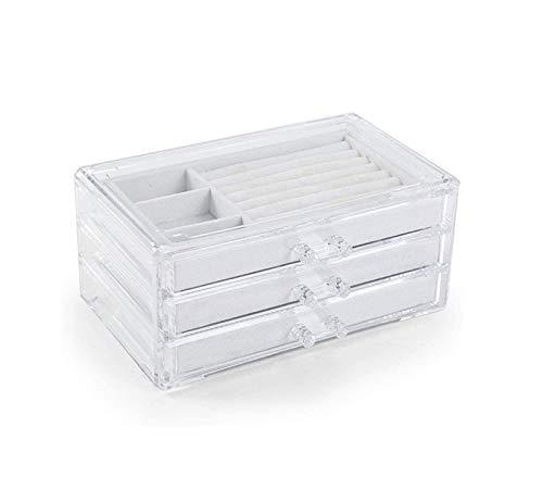 YiGanQiang Caja de joyería con 3 cajones, Caja de Almacenamiento Caja de joyería Organizador de cosméticos con Inserciones extraíbles, Caja de joyería de Maquillaje para Pendientes (Color : Gray)