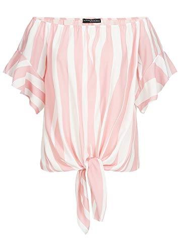 Styleboom Fashion® Damen Shirt Off-Shoulder Tie-Knot Top Streifen Bluse rosa Weiss, Gr:XL