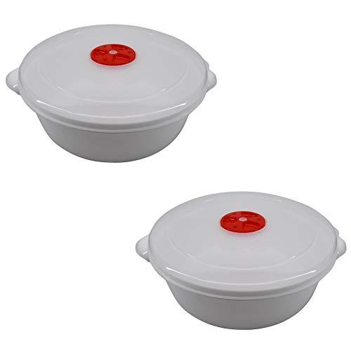 Cuenco para microondas con válvula. Apto para lavavajillas y congelador. 2 litros. Diámetro: 22 cm. 2 unidades.