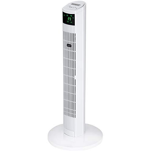 monzana Turmventilator I mit Fernbedienung I 3 Geschwindigkeitsstufen I digitales Display I weiß - Säulenventilator Standventilator Luftkühler Ventilator