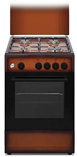 Cucina a gas con forno 50x50 cm, 4 Fuochi, Brown