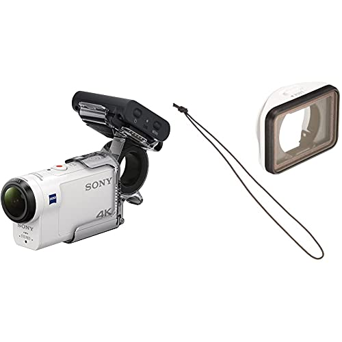 Sony FDR-X3000RFDI 4K Action Cam (mit RM-LVR3 Live View Remote Fernbedienung & Fingergriff AKA-FGP1) weiß und AKA-MCP1 Objektivschutz (Kameraobjektivschutz, mehrfach beschichtet, Schutzfilter)