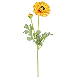 SilksAreForever 21″ Silk Ranunculus Flower Stem -Yellow (Pack of 12)