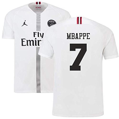 2018-19 PSG Third Football Soccer T-Shirt Maillot White (Kylian Mbappe 7)