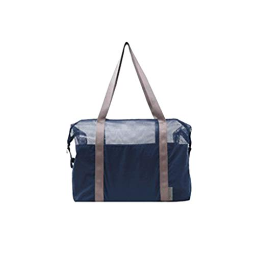 Beach Bag Mesh Sports Tote Bag Summer Portable Swimming Pool Bag for Women Men (Blue)