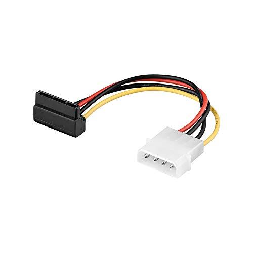 Goobay 93030 Cavo Elettrico/Adattatore a Y per PC, Connettore 5.25 a 2 SATA da 90°, 0.13m Lunghezza del Cavo