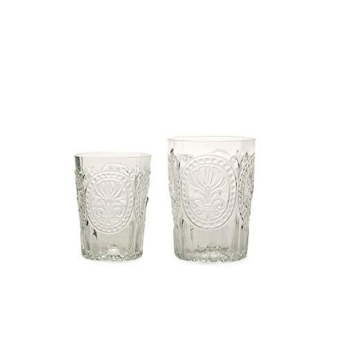 Verre à eau, à jus de fruit - En verre recyclé - Motif fleur de LYS - Transparent - 300 ml